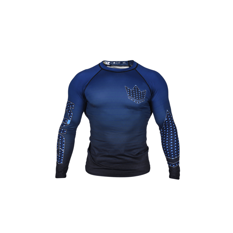 RASHGUARD JJB KINGZ CROWN IBJJF RANK 3.0 BLEU